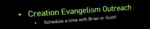 Creation Evangelism Outreach - Schedule Your Own Time Too! @ Alpha Omega Institute